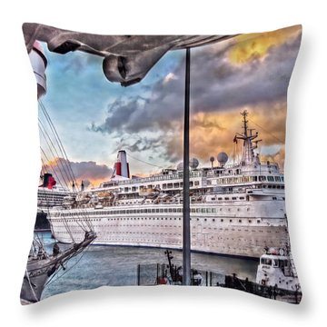 Throw Pillow featuring the photograph Cruise Port - Light by Hanny Heim