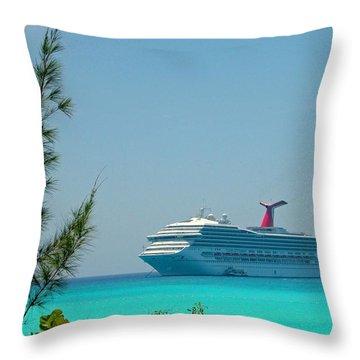 Cruise Ship At Half Moon Cay Throw Pillow