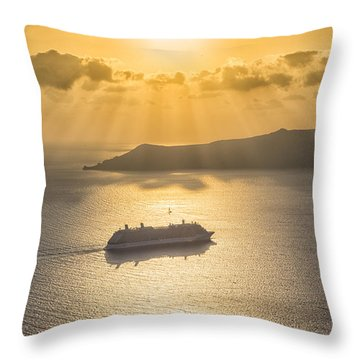 Cruise Ship In Greece Throw Pillow