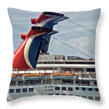 Cruise Ships In Cozumel, Mexico Throw Pillow