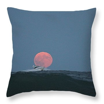 Cruising On A Wave During Harvest Moon Throw Pillow