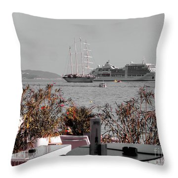 Cruising Past And Present Throw Pillow