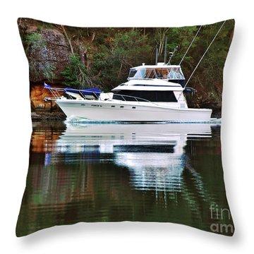 Cruising The River By Kaye Menner Throw Pillow