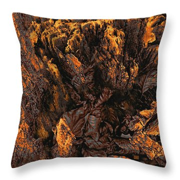 Throw Pillow featuring the photograph Crumbling Tree Stump Abstract Detail In Copper Tones by Menega Sabidussi