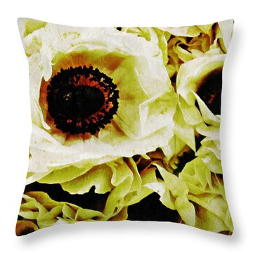 Throw Pillow featuring the photograph Crumpled White Poppies by Sarah Loft