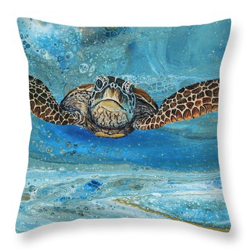 Throw Pillow featuring the painting Crush The Honu by Darice Machel McGuire