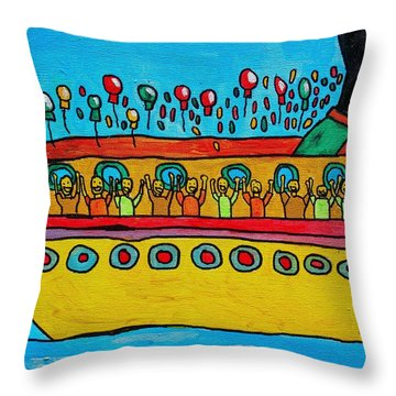 Throw Pillow featuring the painting Cruise by Artists With Autism Inc