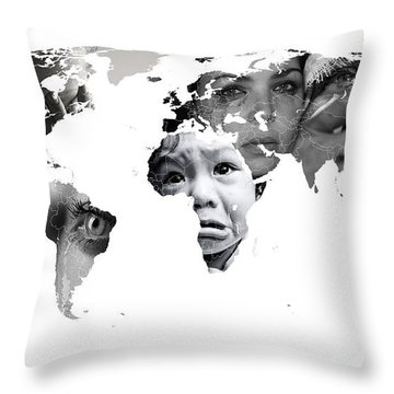 Crying Earth Throw Pillow