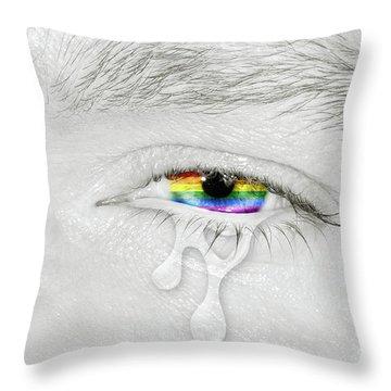 Crying Eye With Rainbow Flag Throw Pillow