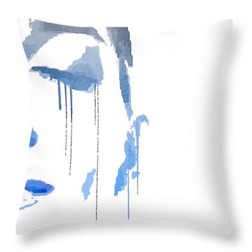 Throw Pillow featuring the digital art Crying In Pain by ISAW Company