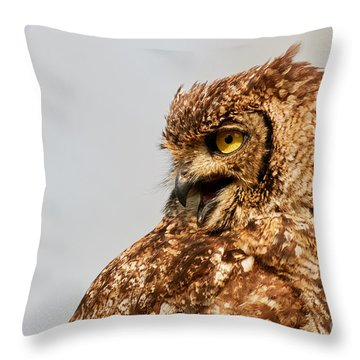 Throw Pillow featuring the photograph Crying Spotted Eagle-owl  by Nick Biemans