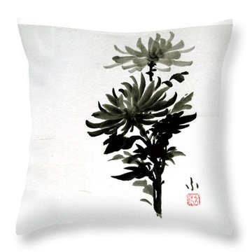 Crysanthemums Throw Pillow