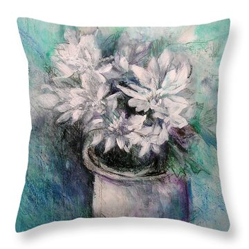 Throw Pillow featuring the painting Crysanthymums by Chris Hobel
