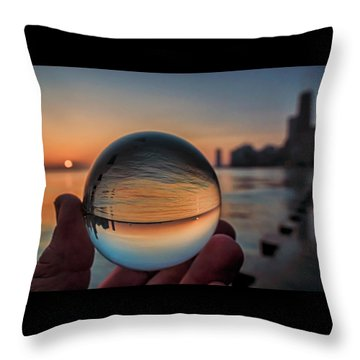 Crystal Ball On Chicago's Lakefront At Sunrise Throw Pillow