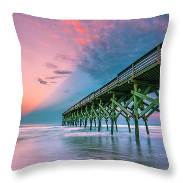 Throw Pillow featuring the photograph Crystal Beach Pier Sunset In North Carolina by Ranjay Mitra