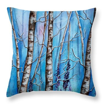 Crystal Blue Forest Throw Pillow