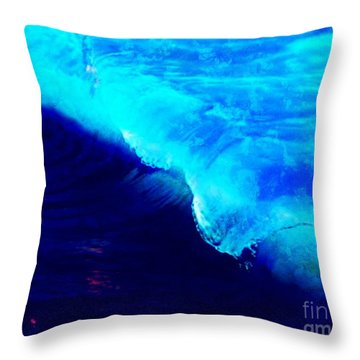 Crystal Blue Wave Painting Throw Pillow