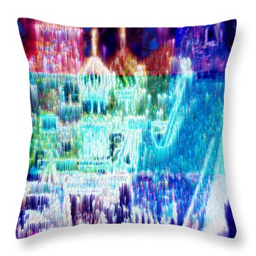 Throw Pillow featuring the digital art Crystal City by Seth Weaver