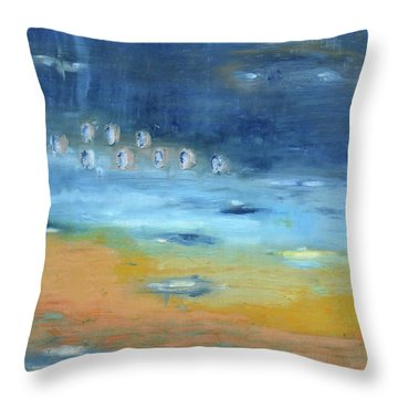 Throw Pillow featuring the painting Crystal Deep Waters by Michal Mitak Mahgerefteh