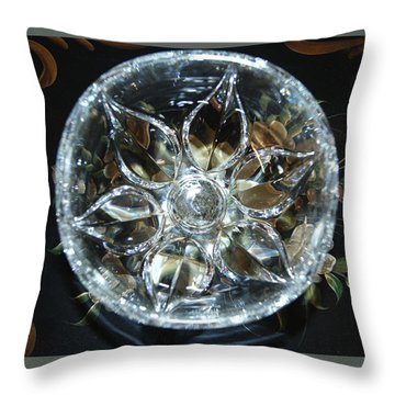 Crystal Floral On Black Throw Pillow by Margie Avellino