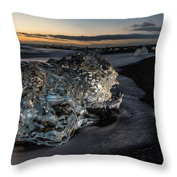 Crystal Ice At Sunrise Throw Pillow by Scott Cunningham