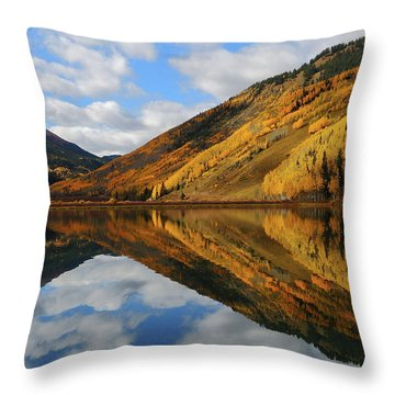 Crystal Lake Autumn Reflection Throw Pillow by Jetson Nguyen