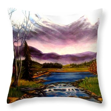 Crystal Lake With Snow Capped Mountains Throw Pillow