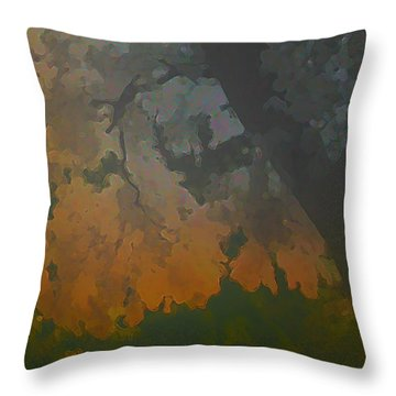 Crystal Leaves Throw Pillow by Kat Besthorn