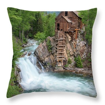 Crystal Mill Colorado Throw Pillow