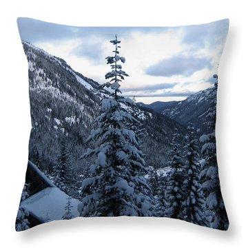 Crystal Mountain Dawn Throw Pillow by Lorraine Devon Wilke