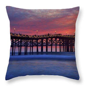 Crystal Pier In Pacific Beach Decorated With Christmas Lights Throw Pillow