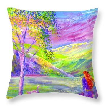 Throw Pillow featuring the painting Crystal Pond, Silver Birch Tree And Swan by Jane Small