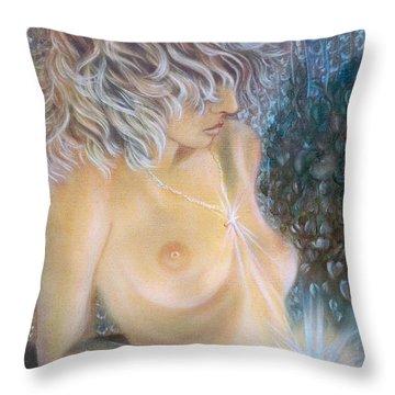 Blaa Kattproduksjoner                        Crystal Wonder Girl  Throw Pillow