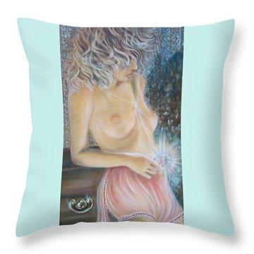 Blaa Kattproduksjoner      Crystal Wonder Viking Girl  Throw Pillow