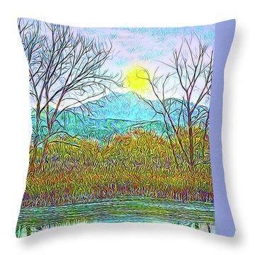Crystalline Twilight Reflections - Boulder County Colorado Throw Pillow