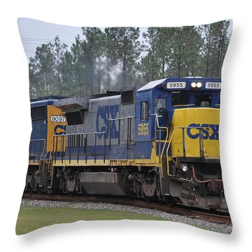 Csx 5955 Through Folkston Georgia Throw Pillow