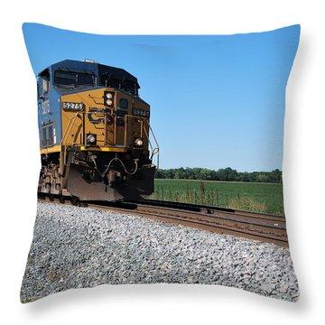 Csx Train Engine Throw Pillow by Pamela Baker