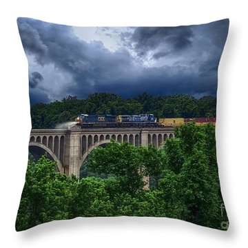 Csx Train Trestle Throw Pillow