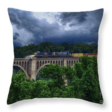 Csx Train Trestle Throw Pillow by Melissa Messick