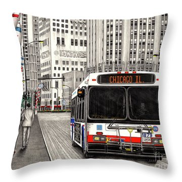 Cta Bus On Michigan Avenue Throw Pillow