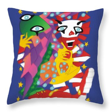 Cthulhu And Ronald Macdonald Playing Dice With The Universe Throw Pillow