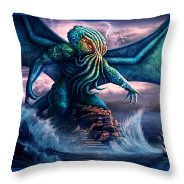 Cthulhu Throw Pillow by Anthony Christou