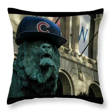 Cub Hat On Art Institute Lion Telephoto Throw Pillow