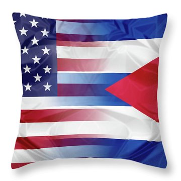 Cuba And Usa Flags Throw Pillow