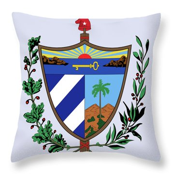 Throw Pillow featuring the drawing Cuba Coat Of Arms by Movie Poster Prints