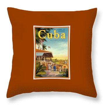 Cuba-come To Havana Throw Pillow by Nostalgic Prints
