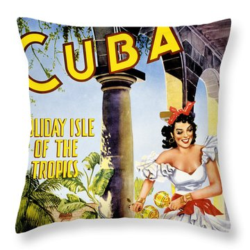 Cuba Holiday Isle Of The Tropics Vintage Poster Throw Pillow by Carsten Reisinger