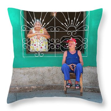 Throw Pillow featuring the photograph Cuba Husband And Wife by Craig J Satterlee