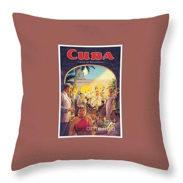 Cuba-land Of Romance Throw Pillow by Nostalgic Prints