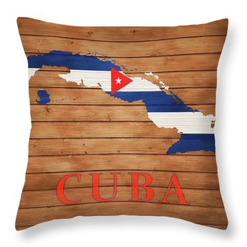 Cuba Rustic Map On Wood Throw Pillow